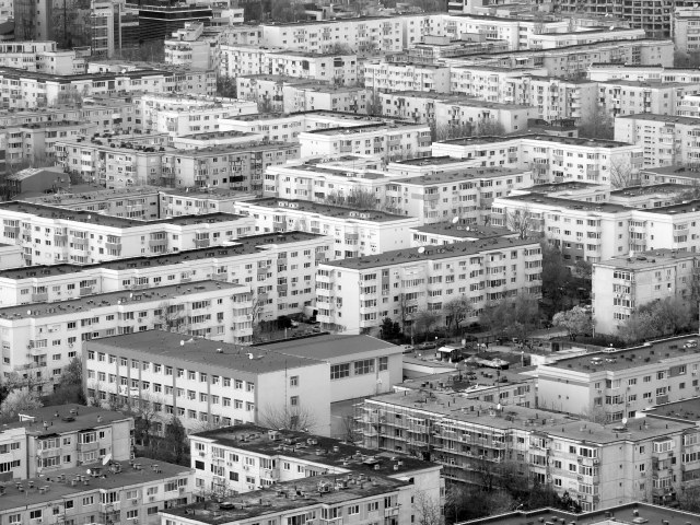 Socialist housing estates, Floreasca neighbourhood. Bucharest's housing is 98.4% privately owned. Photo by Rachita Misra