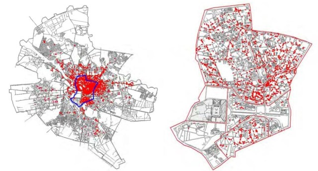 Map of technically assessed vulnerable buildings in Bucharest, Romania. Source: Integrated Urban Development Plan for the central area